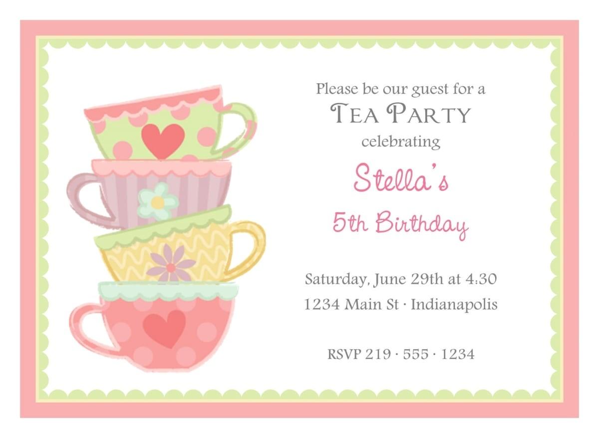 Images Of Tea Party Invitations Free afternoon Tea Invitation Template