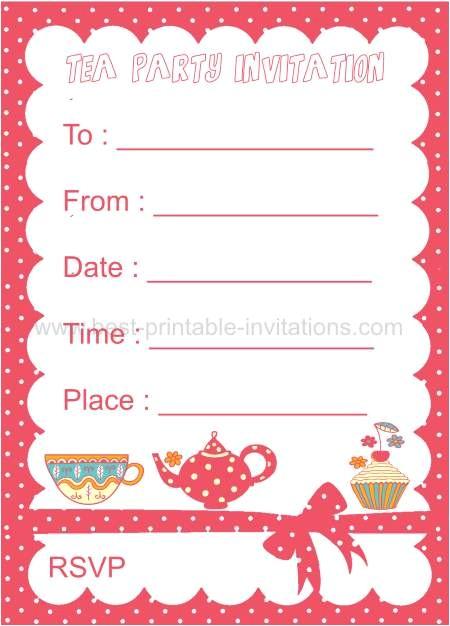 kids tea party invitation