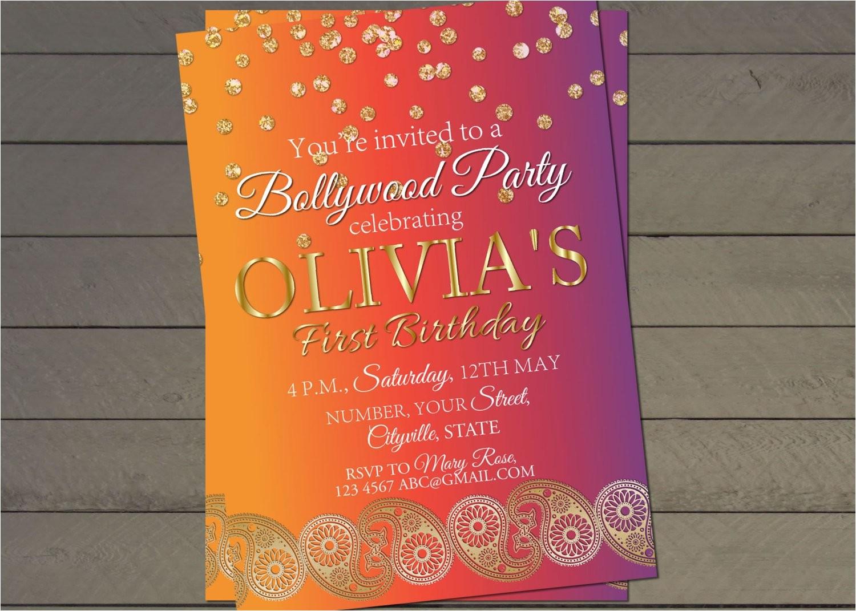 bollywood birthday party invite confetti