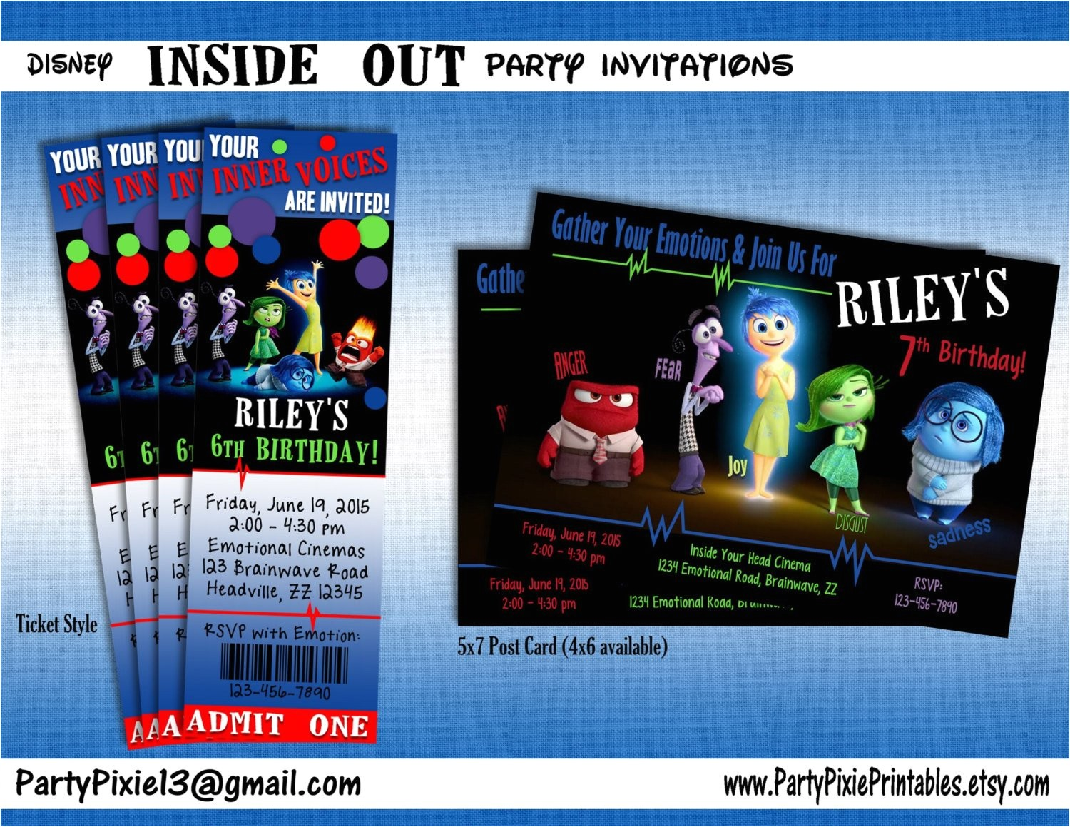 inside out party packge and invitation