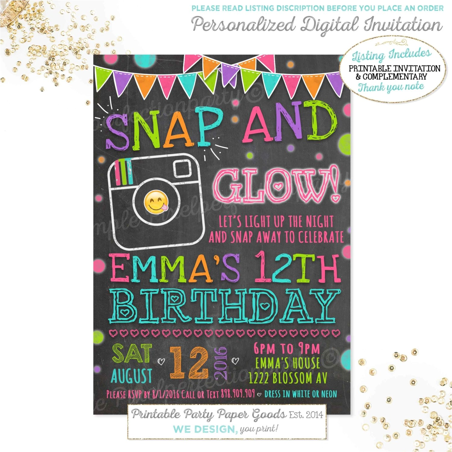 emoji birthday invitation instagram