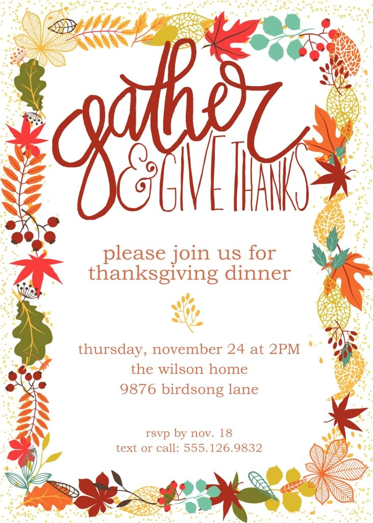 customizable thanksgiving invitation