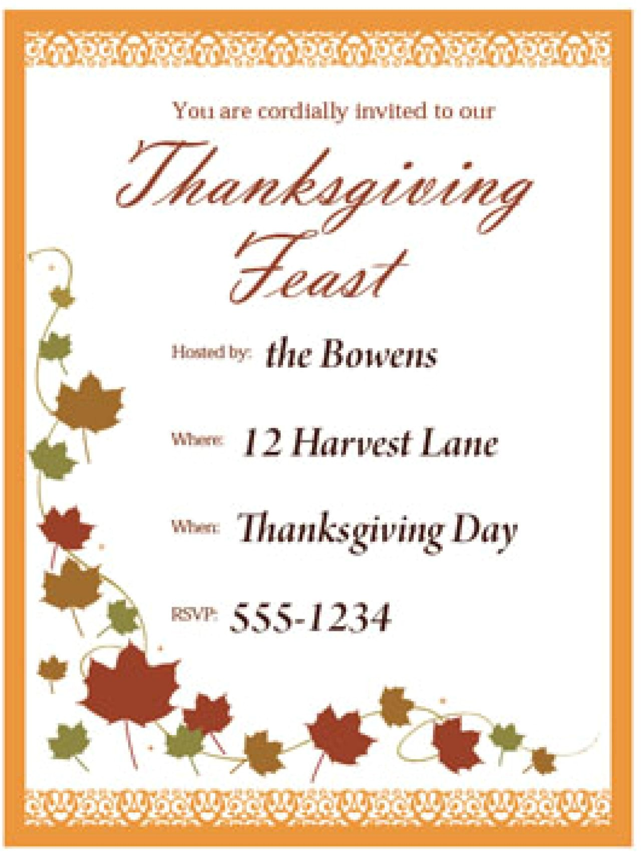 printable thanksgiving invitation