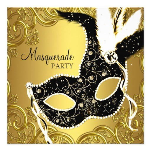 black gold mask masquerade ball party custom announcements 161533888533781917