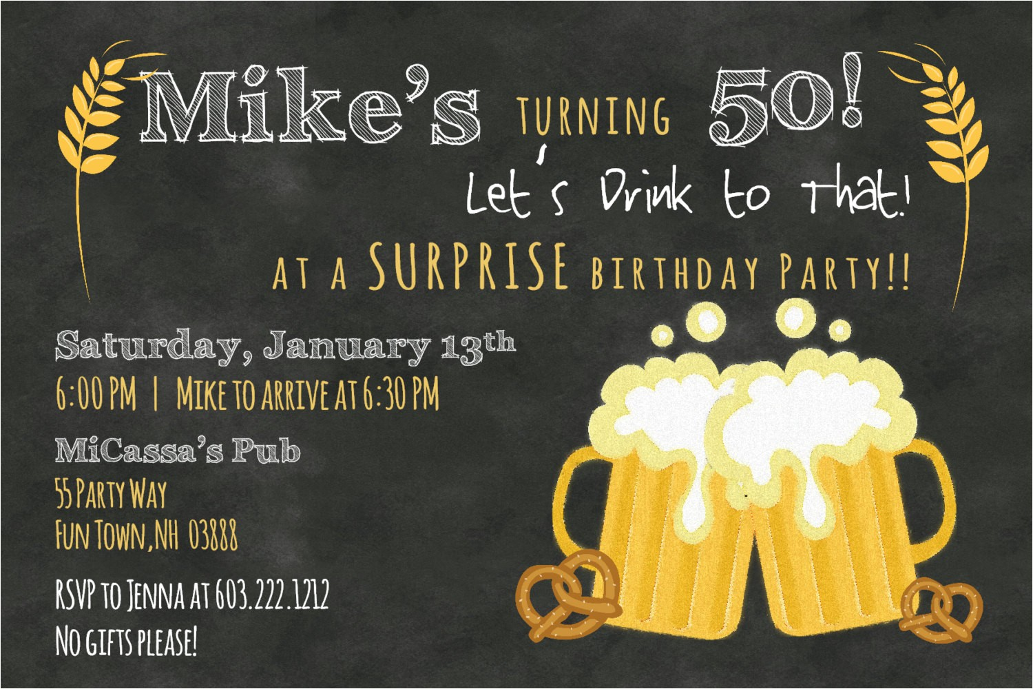 50th birthday invitation wording ideas