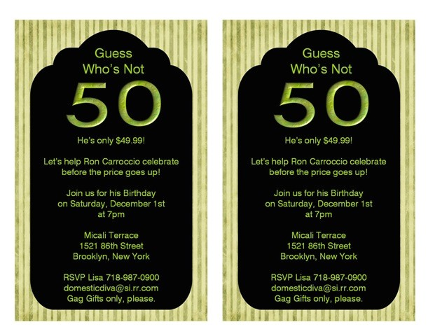 50th birthday party invitation ideas
