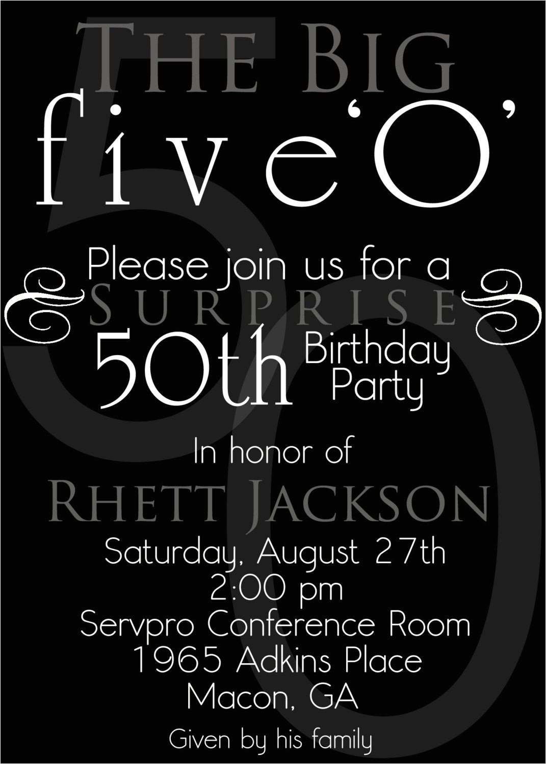 surprise 50th birthday party invitations template