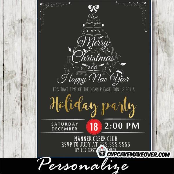 company holiday party invitations black white christmas word tree