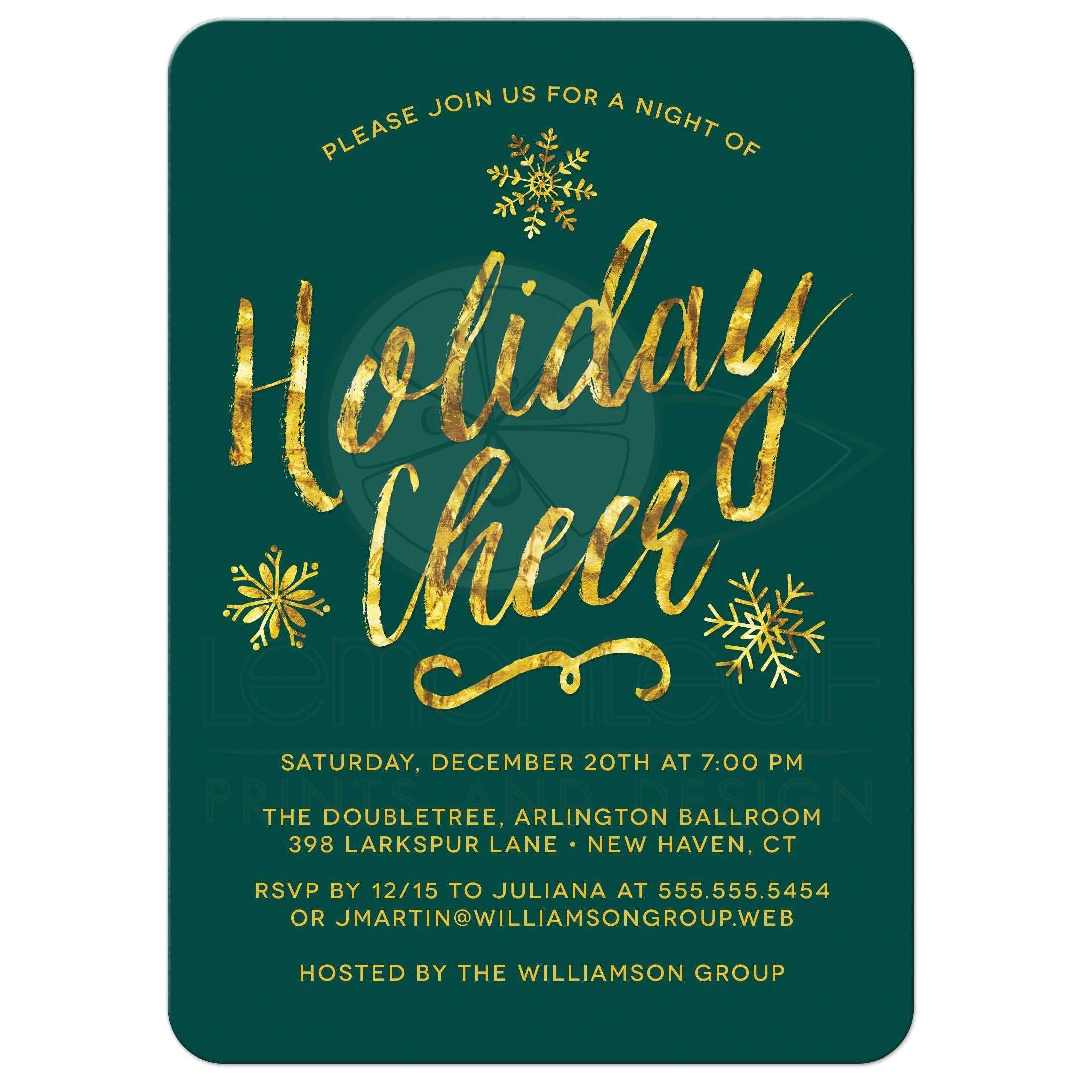 corporate holiday party invitations golden holiday cheer