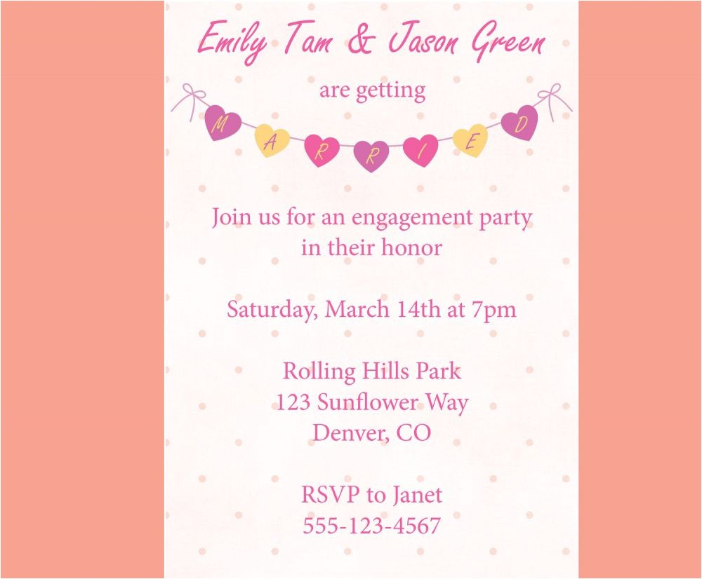 how to word engagement party invitations