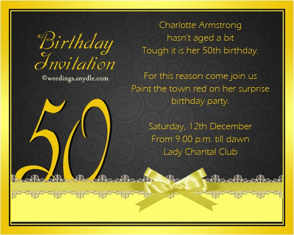 Invitations 50th Birthday Party Wordings 50th Birthday Invitation Wording Samples Wordings and
