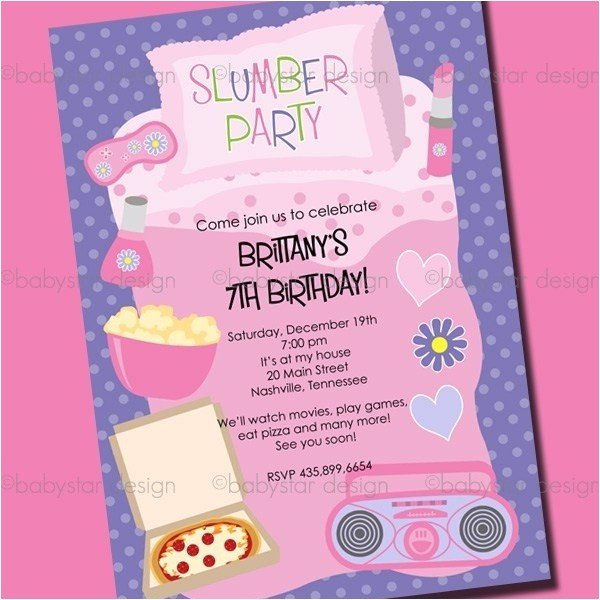 sleepover birthday invitations template