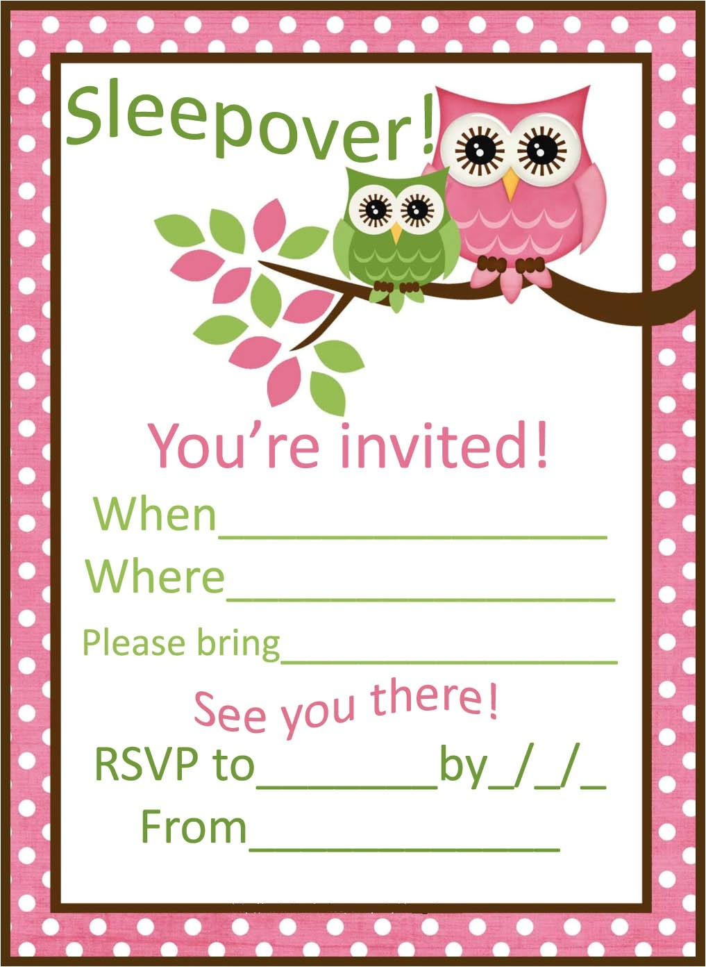 sleepover party invitations
