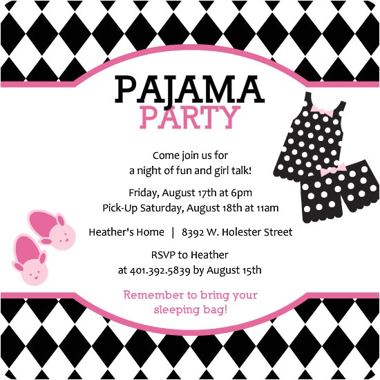 sleepover party invitations template