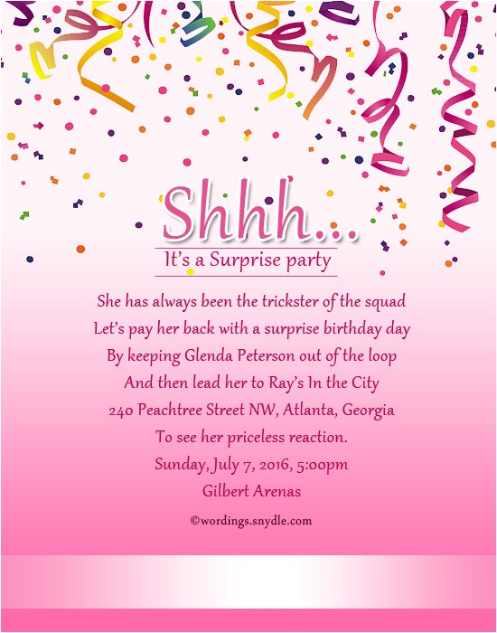 surprise birthday party invitation wording 2