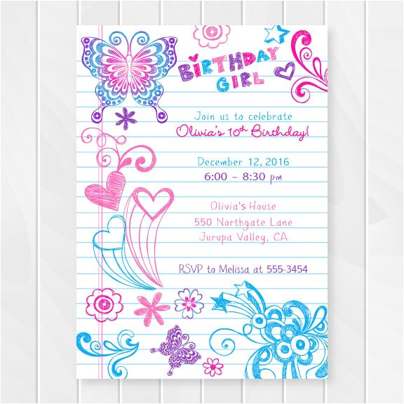 notebook doodles tween birthday invitation girl birthday invitations teenage party invites sweet sixteen birthday party printable 0202
