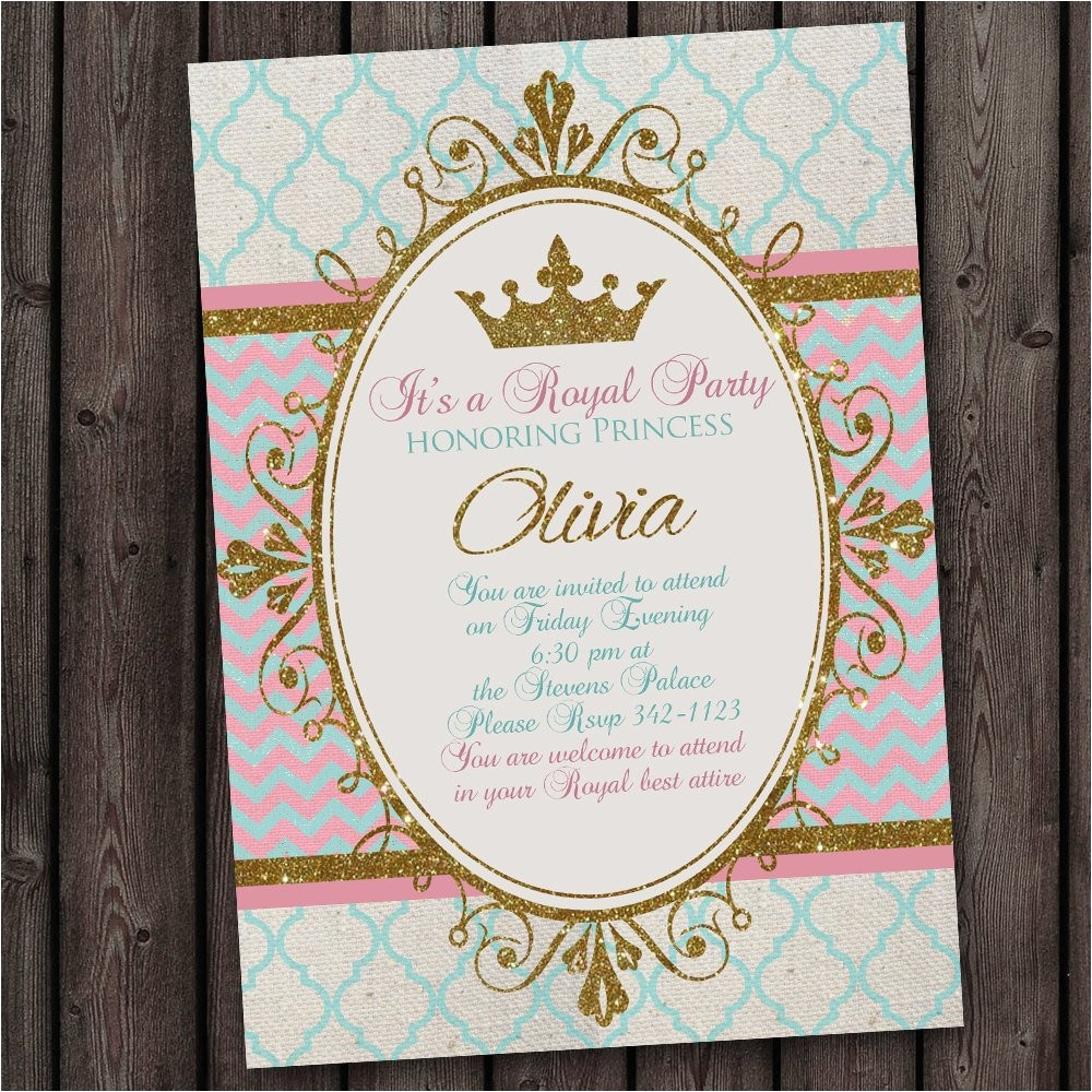 princess invitation royal party gold