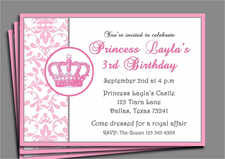 princess party invitation pretty pink