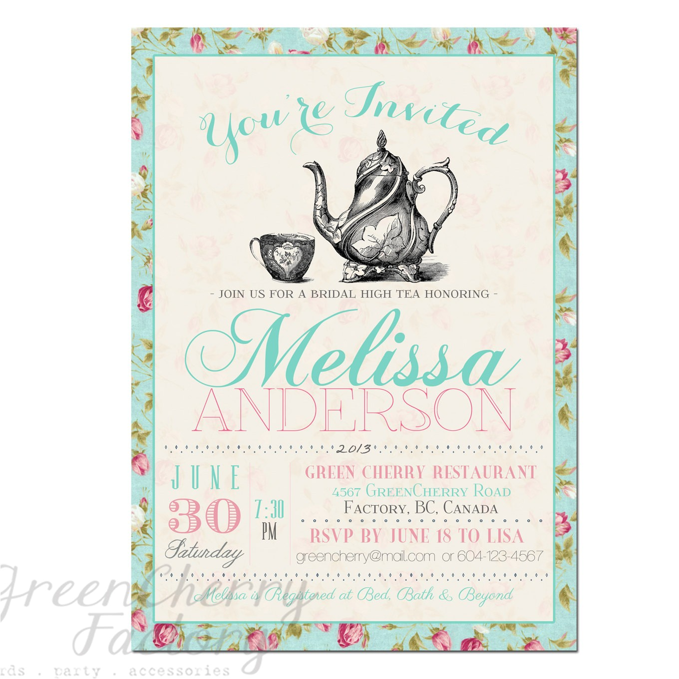 bridal shower tea party invitation wording