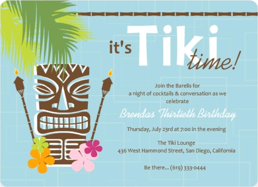 hawaiian or tropical invitation wording