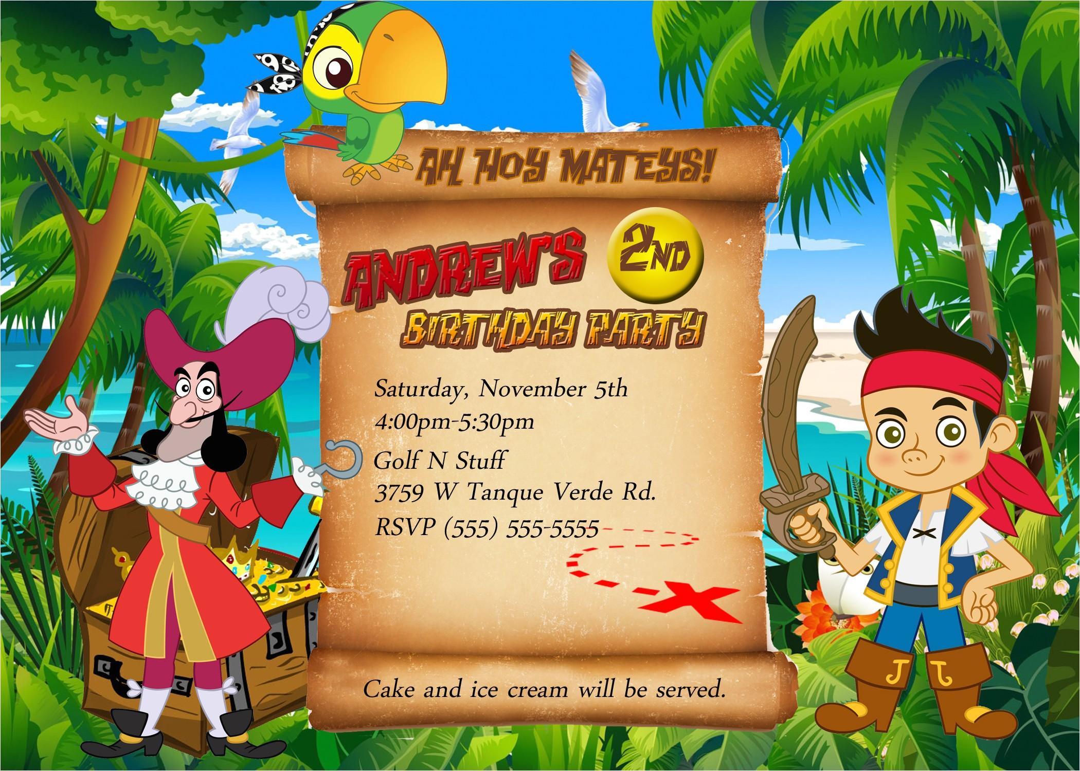 jake and the neverland pirates birthday invitations 2