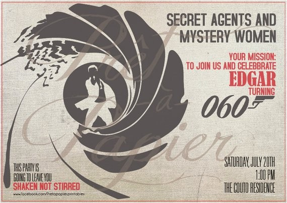 James Bond Party Invitation Wording James Bond Party Invitation