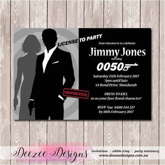 james bond personalised birthday invitation print 2