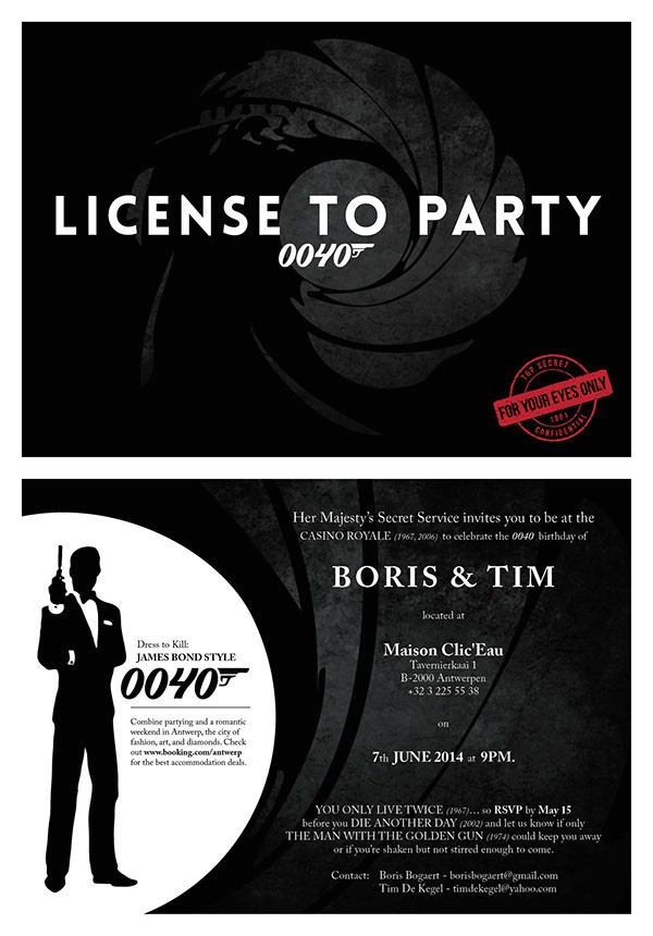 james bond birthday invitation