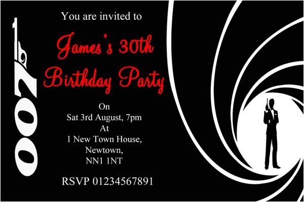 james bond party invitations 11107 p