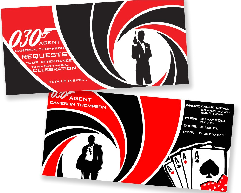james bond party invite