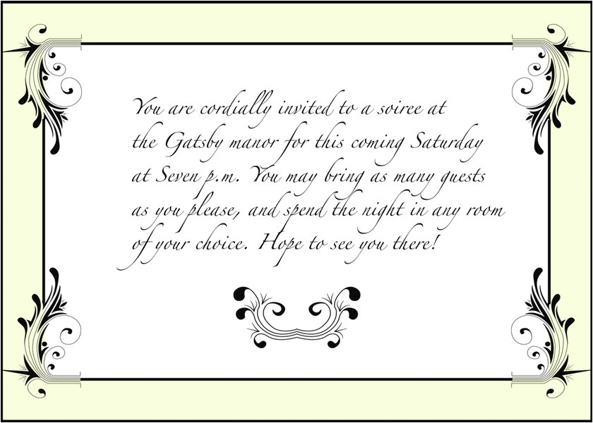 Jay Gatsby Party Invitation Invitation West Egg 1922