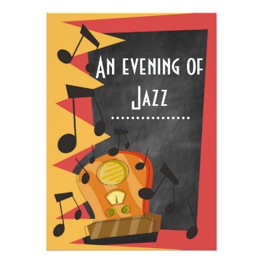 chalkboard jazz blues theme party invitations 256637047714637183