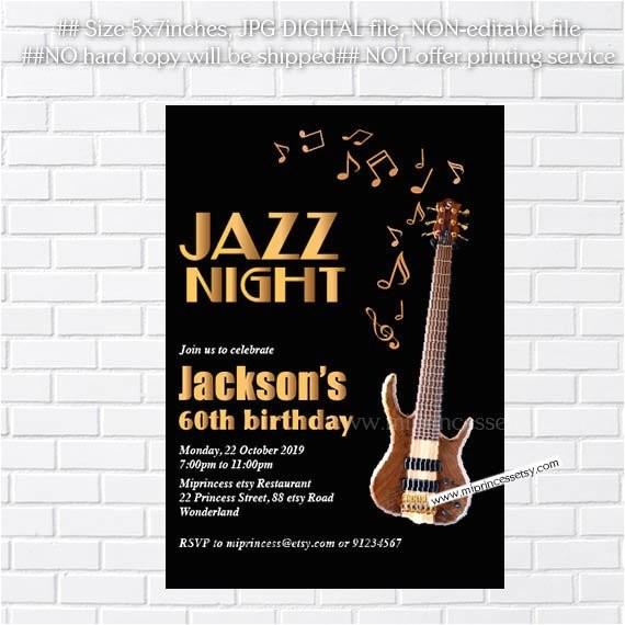 jazz birthday invitation glam black
