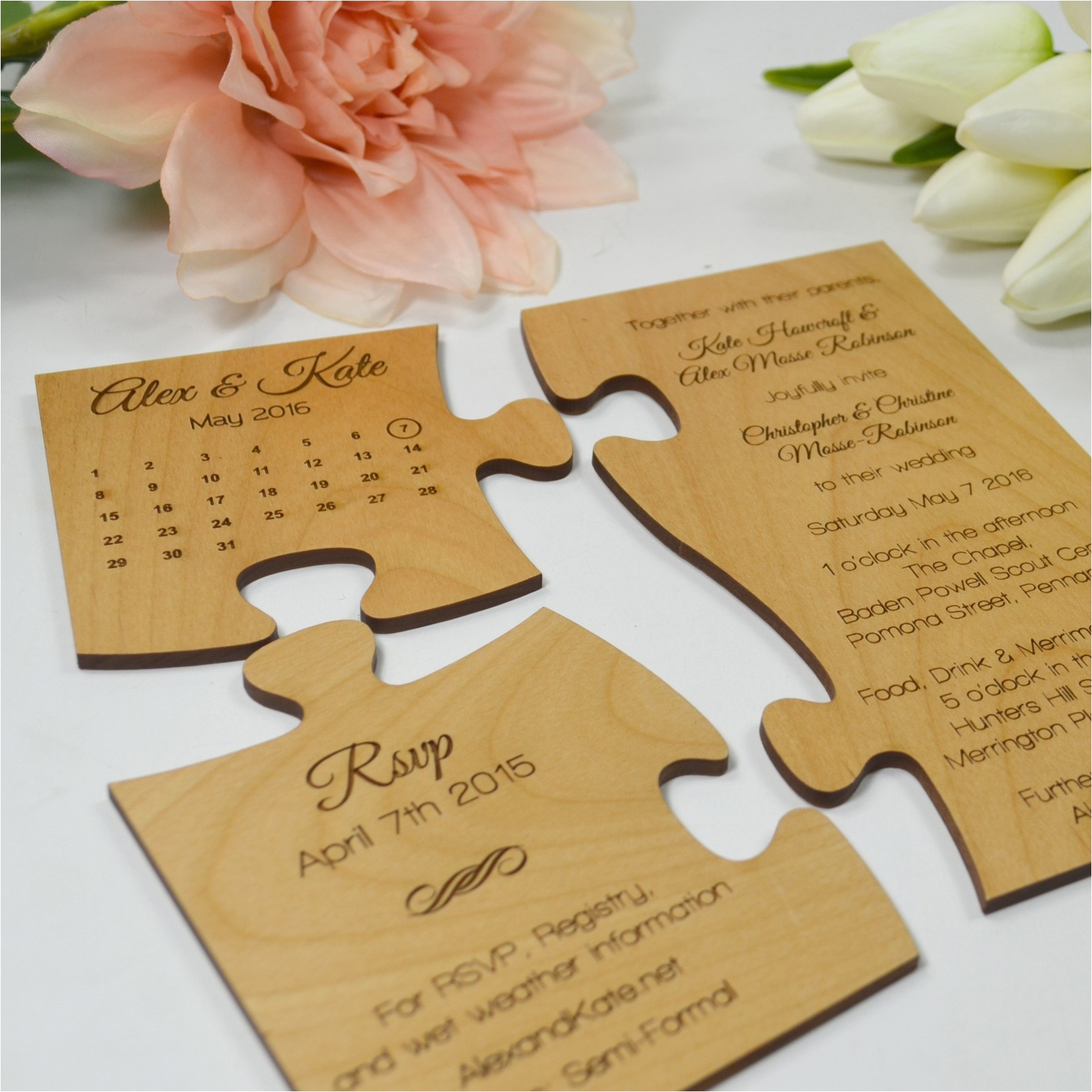 limited edition engraved wooden puzzle invitation and save the date set