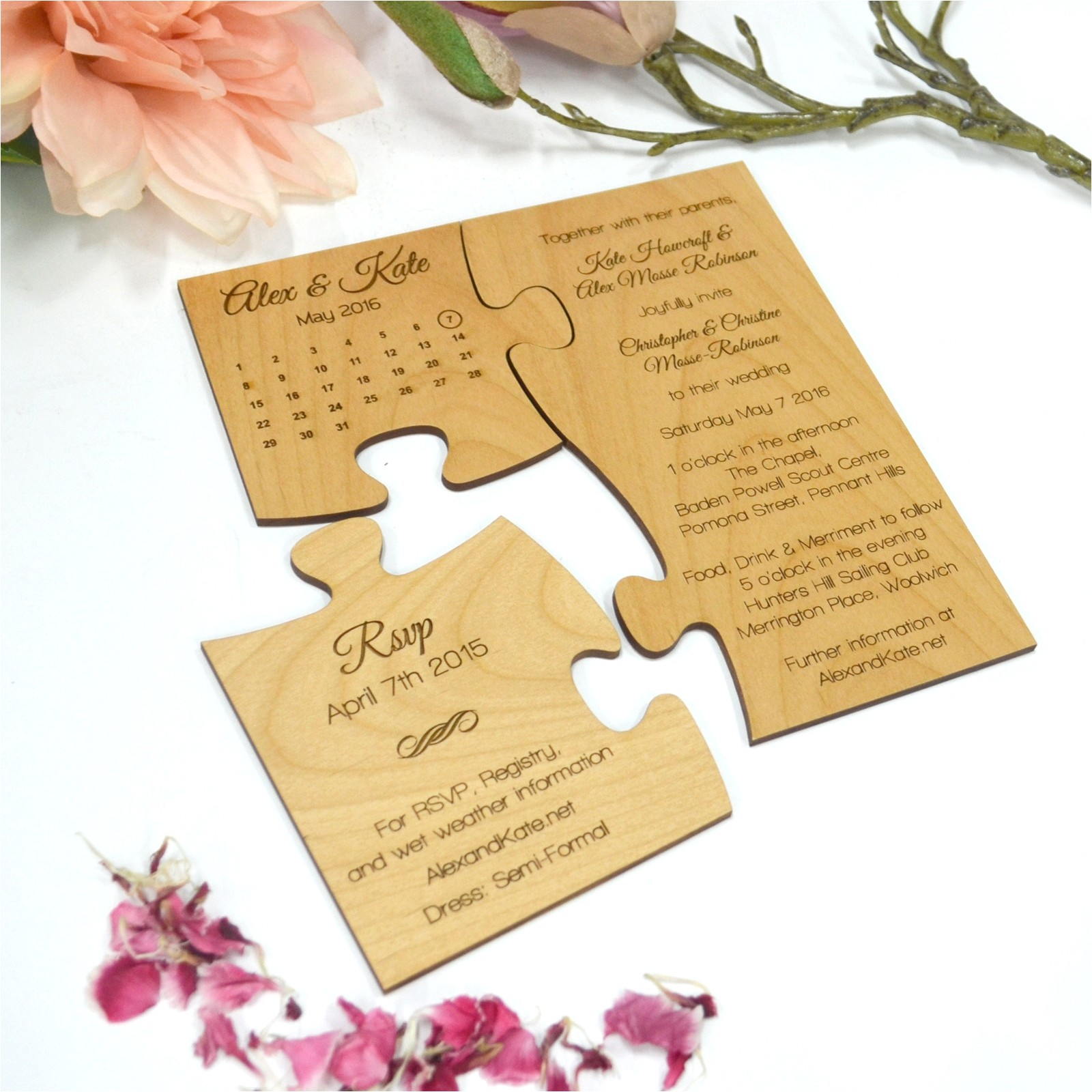 limited edition engraved wooden puzzle invitation and save the date se
