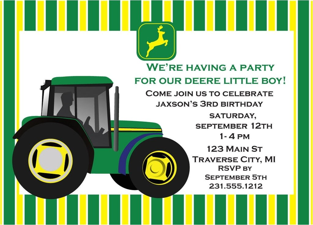 free john deere birthday invitations