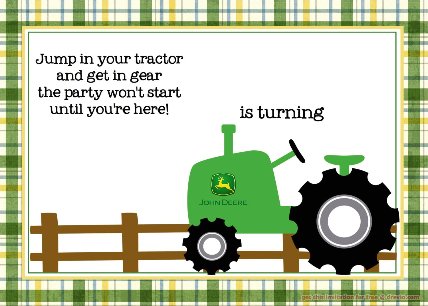 free printable john deere tractor birthday invitation