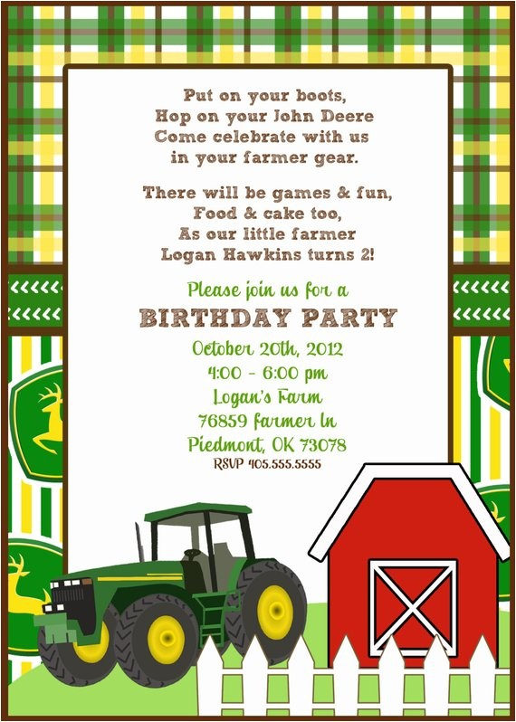 customizableprintable john deere invite
