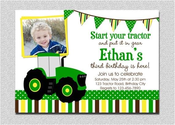 tractor birthday invitation tractor