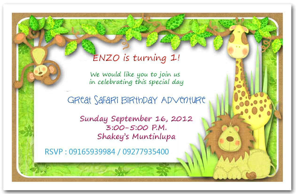 safari themed first birthday invitation wording