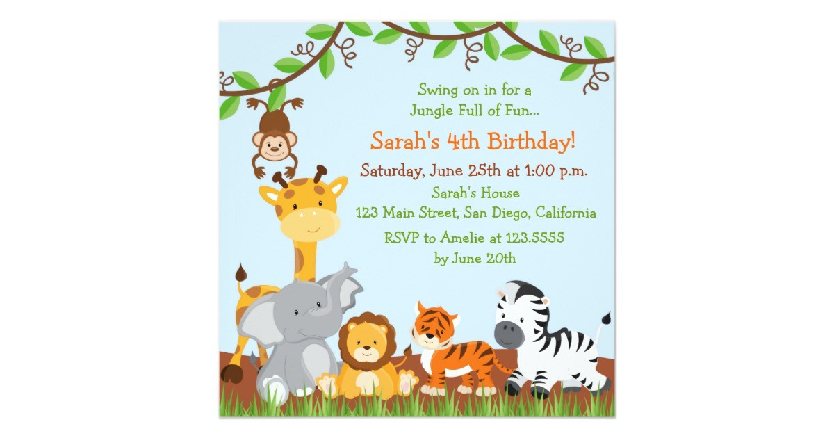 cute safari jungle birthday party invitations 161909566393218573
