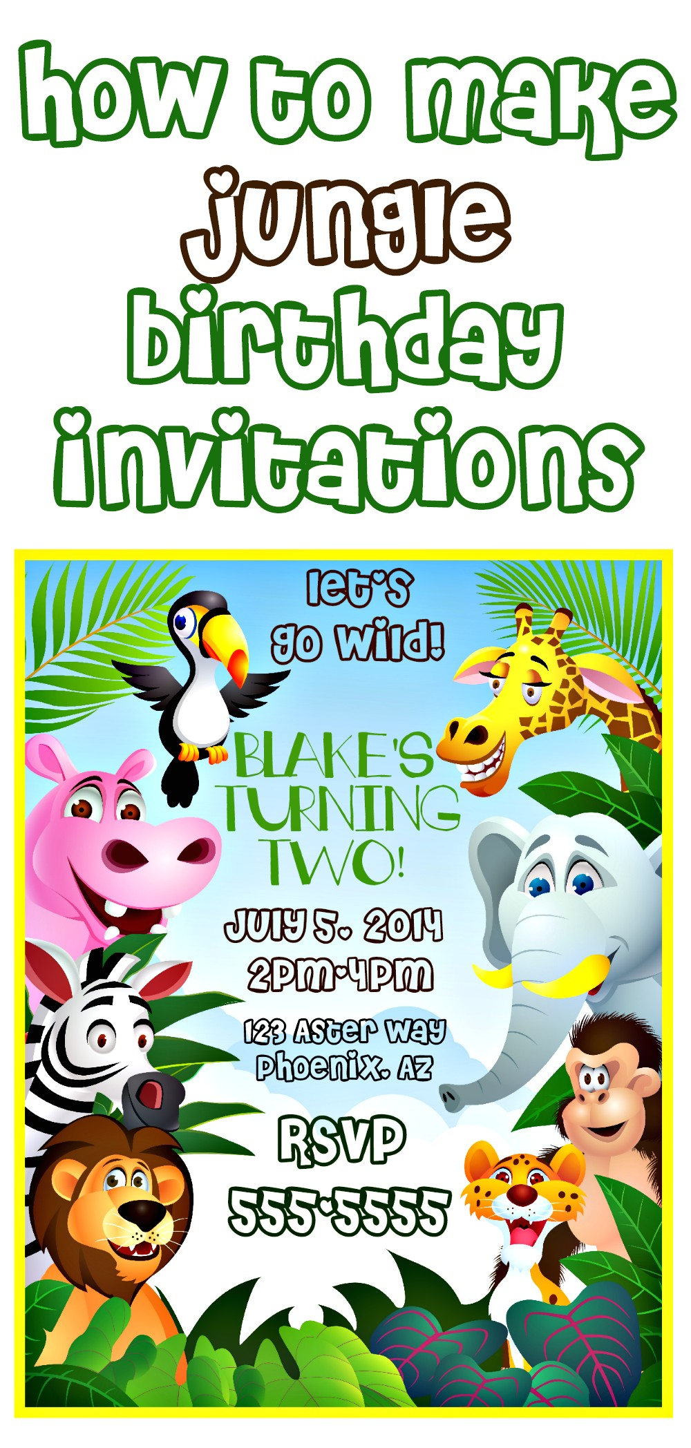 make jungle themed invitations