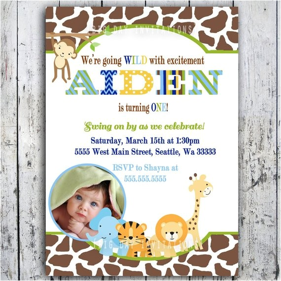 safari birthday invitations jungle