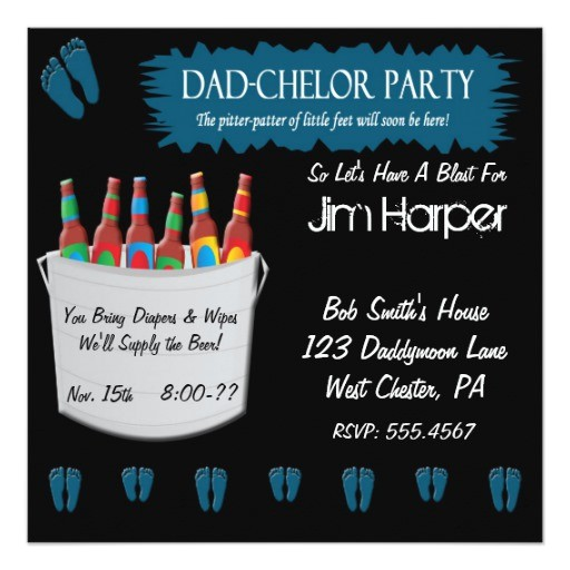 dad chelor diaper keg party invitations 161479525463234157