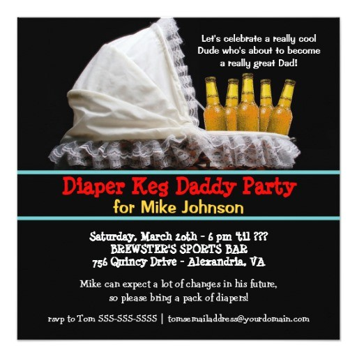 diaper keg party invitations new dad baby party 161091718597669286