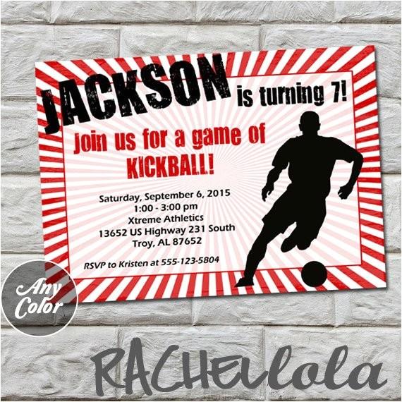 kickball invitation digital print color