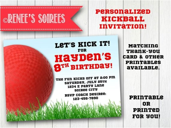 kickball invitation printable birthday