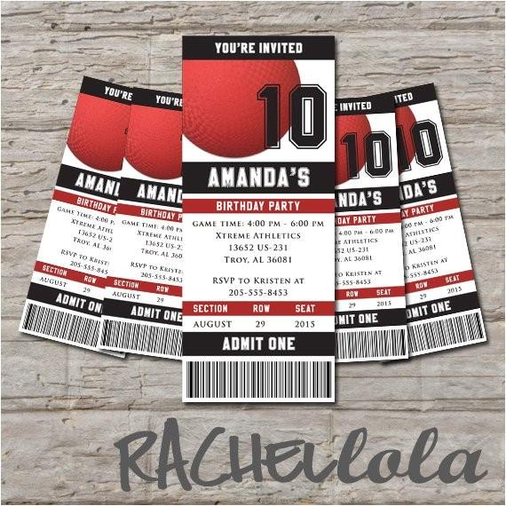 kickball ticket birthday invitation printable diy