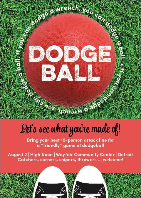 kickball dodgeball game invitation