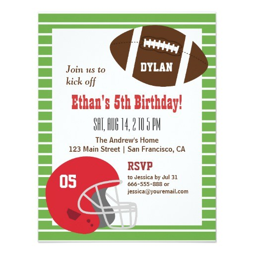 american football kids birthday party invitations 161924067502370159